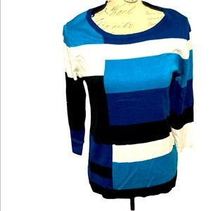 Carol Rose Color Block Crew Neck Pullover Sweater